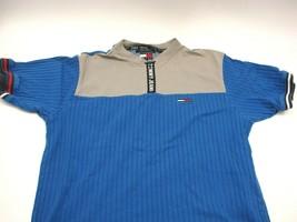 Vintage Tommy Hilfiger 1/4 Zip Spellout Men's Large Short Sleeve 90's Blue Gray - $18.09