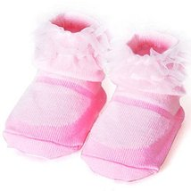 Baby Socks Lovely Cotton Summer Infant Socks 0-12 Months(Pink)