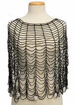 "Heritage Lace Black Gothic Round Cotton 36"" Halloween Poncho One Size Fi... - £23.06 GBP"