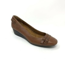 Eurosoft Malina Sofft Brown Cognac Wedge Heel Pumps Leather Shoes Size 8... - $27.08