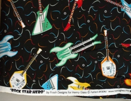 1/2yd music/colorful electric guitars/Rock Hero black quilt fabric-free shipping image 6