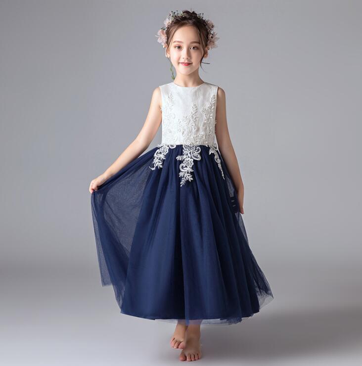 Flower Girl Dress Appliqued Tulle A Line Dance Skirts Vintage Children Party  image 1