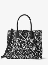 Michael Kors Mercer Black/White Leopard Leather/Textured Coated Canvas Tote  - $519.99