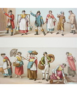 COSTUME of England Fireman Baker Match Seller Maid - COLOR Print A. Racinet - $15.46