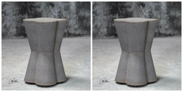 "PAIR MODERN URBAN DECOR 27"" MUSHROOM GRAY PEDESTAL ACCENT END TABLE NAIL... - $866.80"