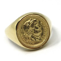 SOLID 18K YELLOW GOLD BAND RING, ROMAN COIN, ROMAN EMPEROR, MADE IN ITALY image 1