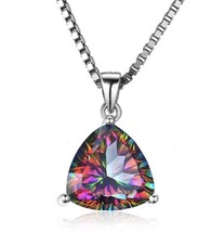 925 Sterling Silver Pendant Necklace Mystic Fire Rainbow 5.5ct Topaz Pen... - $18.60