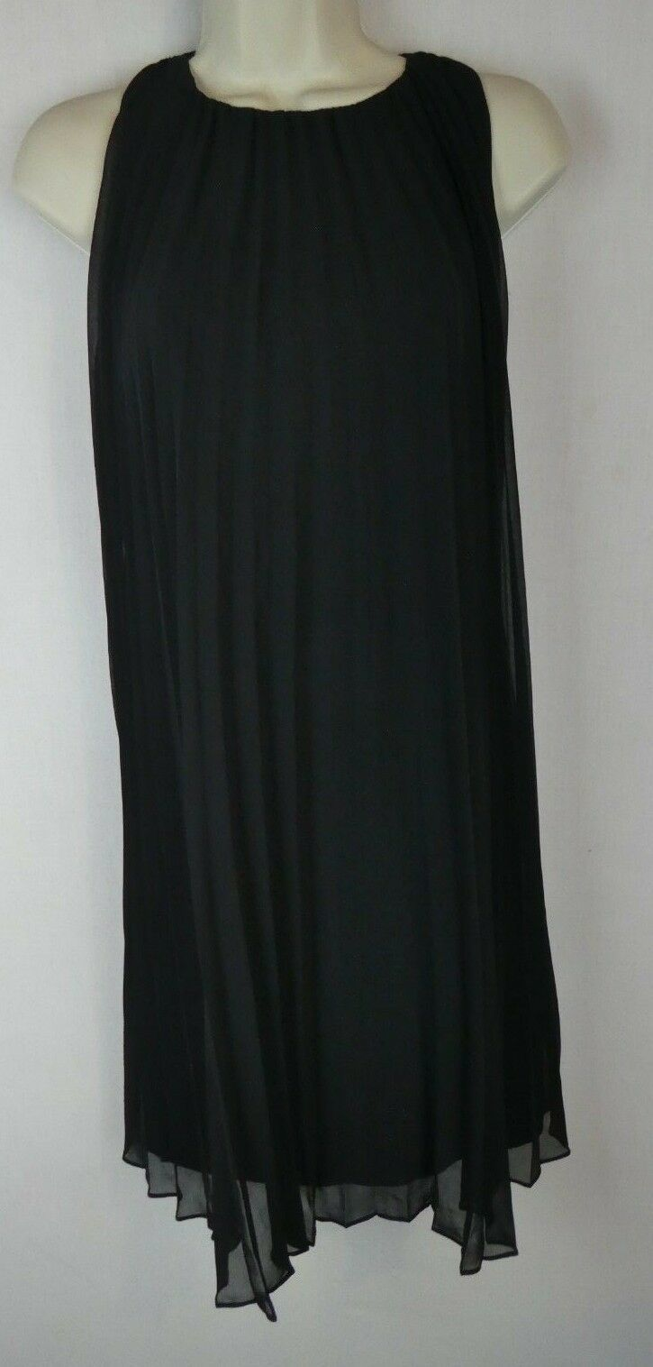 Halston Heritage 0 black pleat dress cocktail formal designer