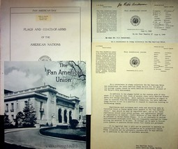 1940 Lot Of Various Pan American Day Items Union Flags And Coat Of Arms - $18.00