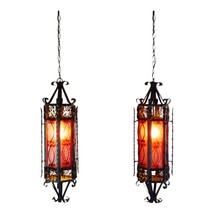 Vintage Spanish Revival Gothic Style Swag Pendant Lights - A Pair - $1,295.00