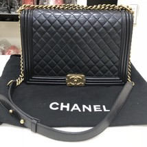 AUTH CHANEL BLACK QUILTED LAMBSKIN LARGE BOY FLAP BAG GHW