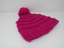 Handcrafted Knitted Hat Beanie Hot Pink Pom Pom 100% Merino Wool Female ... - $40.20