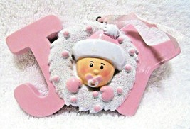 Christmas Holiday Baby Girl Ornament Pink Wreath Joy Resin Hanging Decor... - $8.54
