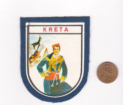 Vtg KRETA Patch-Travel Vacation Souvenir-Blue Felt-Europe-Shield Crest-S... - $9.49