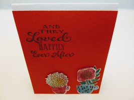 Handmade blank greeting card orange and white with flowers. - $3.50