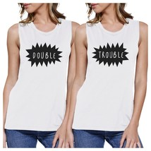 Double Trouble BFF Matching White Muscle Tops - $30.99