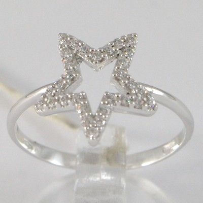 WHITE GOLD RING 750 18K, STELLA WITH ZIRCON, MADE IN ITALY
