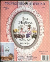 GOOD NEIGHBORS NEED NO FENCES Counted Cross Stitch Kit New Berlin Co #30... - $8.47