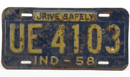 1958 Indiana License Plate Drive Safely Free Shipping!! - $15.85