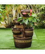 Outdoor Fountain 4 Tier Cascade Water Pots With Pump And Planter Indoor ... - $189.81
