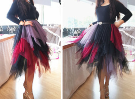 Tiered Elastic High Waist Tulle Skirt Women's Hi-lo Layered Holiday Formal Skirt image 2