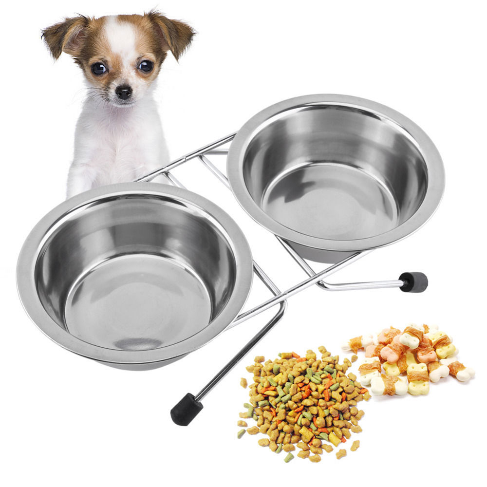 Primary image for Double Dogs Bowls Stainless Steel Anti Slip Removable Puppy Cat Food Water Stand