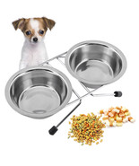 Double Dogs Bowls Stainless Steel Anti Slip Removable Puppy Cat Food Wat... - $9.40