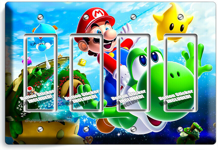 SUPER MARIO FLYING YOSHI GALAXY SPACE 4 GFCI LIGHT SWITCH PLATES KIDS ROOM DECOR