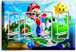 SUPER MARIO FLYING YOSHI GALAXY SPACE 4 GFCI LIGHT SWITCH PLATES KIDS RO... - $21.99