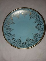 Germany Turquoise Gold Crackle Trim Bowl Plate Hanging 989 18 Vintage MC... - $24.99