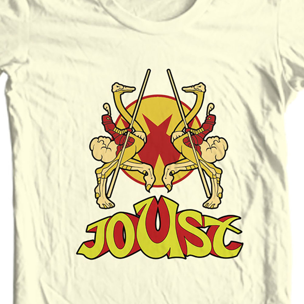 Joust T-shirt retro arcade video game 80's 100% cotton graphic beige tee