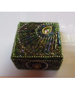 Peacock Feather Glitter Bead Embellished Trinket Box  - $11.87