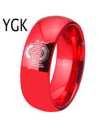 Ohio State Ring Width Red Color Domed Tungsten Carbide Wedding - $37.98