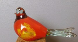 "Mid Century Cased Glass Bird Reds Hand Blown 7"" Beak to Tail - $35.40"