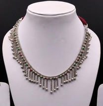 TRIBAL OLD SILVER HANDMADE ADJUSTABLE LENGTH CHAIN NECKLACE BELLY DANCE ... - $150.47