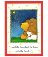 Vintage Christmas Holiday Season's Blessings Greeting Card Lion and Lamb - $14.36