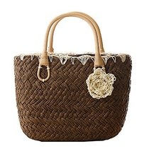 Fashion Vacation Item/Sweet Crochet Flower Straw Hand Bag/ Beach Bag/Coffee
