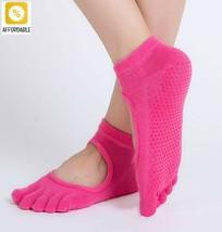 Yoga Socks Women Anti-Slip Five Fingers Backless Silicone 5 Toe Cotton S... - $8.30