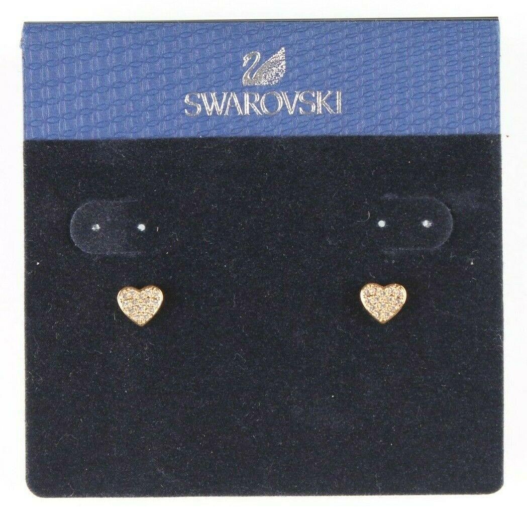 Swarovski Crystal Gold Tone Heart Stud Earrings New on Card