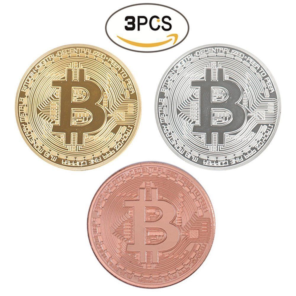Commemorative Collectible Bitcoin Set - 3 Pieces Total w/Random Color and Design