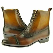 Handmade Men's Dark Brown High Ankle Lace Up & Zipper Boots image 2