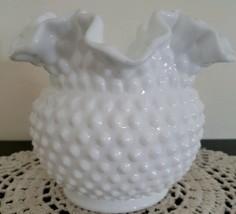 "Vintage ~  White Milk Glass ~ Hobnail Vase ~ Double Crimped 6.25"" Rounde... - $32.00"