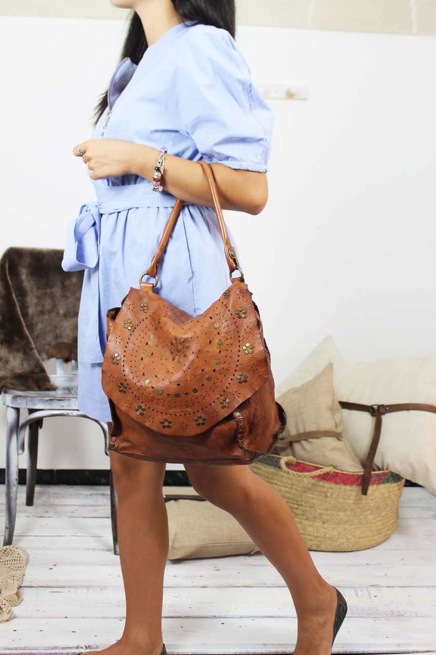 JOANNE handmade leather bag with studs image 2