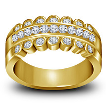 14k Yellow Gold Finish 925 Sterling Silver Mens Wedding Anniversary Diam... - £77.65 GBP
