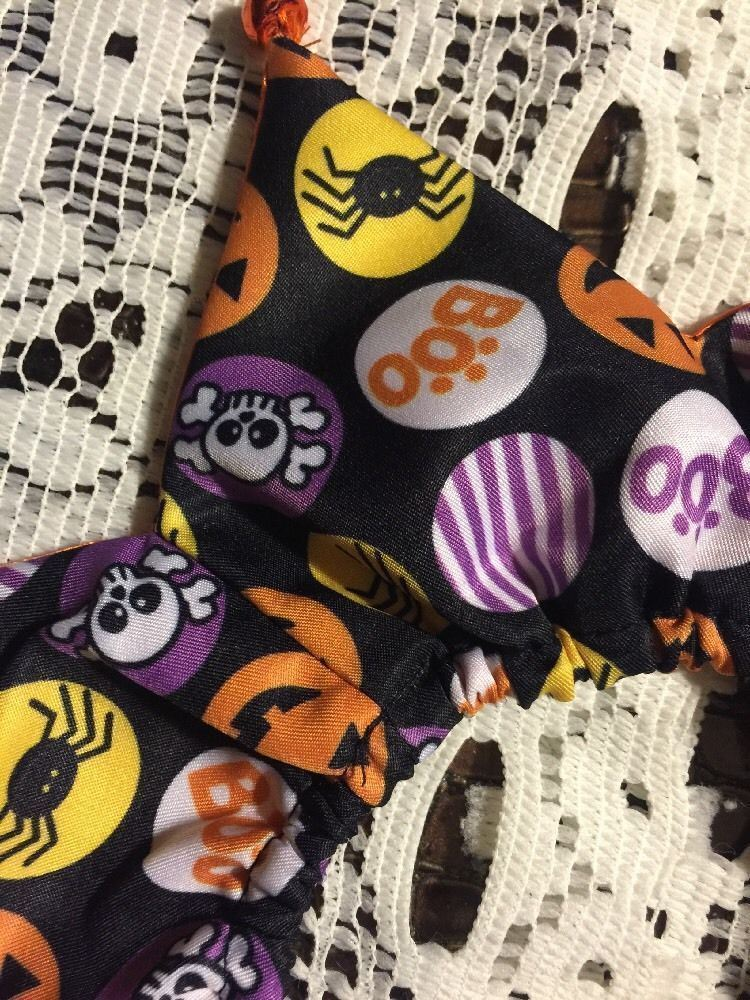Dog Scrunchie Size XS/S Black With Bubbles Of Spiders Skulls Pumpkins