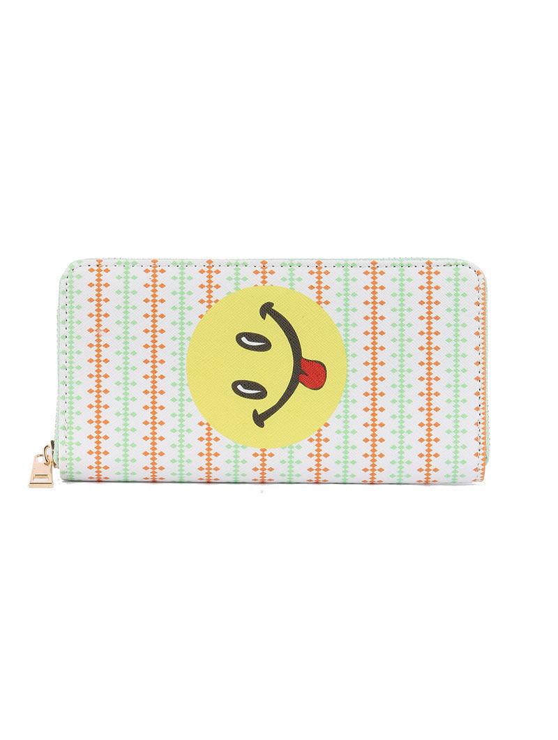 Smiley Face Tongue Emoji Print Zip Around Wallet Clutch Purse