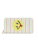Smiley Face Tongue Emoji Print Zip Around Wallet Clutch Purse - $21.77
