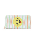 Smiley Face Tongue Emoji Print Zip Around Wallet Clutch Purse - £15.66 GBP