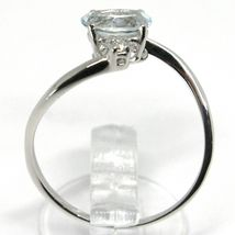 18K WHITE GOLD BAND RING AQUAMARINE 0.65 OVAL CUT & DIAMONDS, MADE IN ITALY image 4