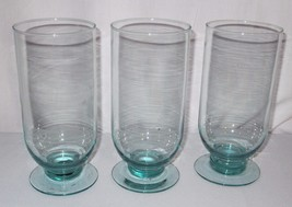 3 Hand-Blown Iced Tea Water Lemonade Teal goblets glasses footed deep bowl - €34,87 EUR